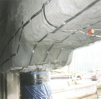 Cathodic protection to a rebar.