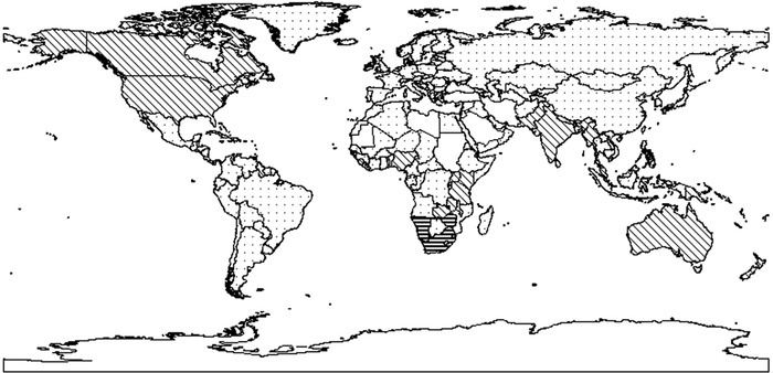 Worldwide legal traditions. Dots indicate common law, diagonal stripes indicate civil law, horizontal stripes indicate a combination.