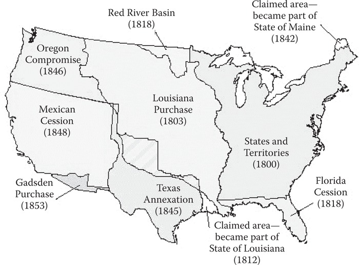 Land acquisitions of the United States, 1800–1860. (Courtesy of the U.S. Geological Survey.)