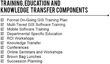 Training, education, and knowledge transfer components.