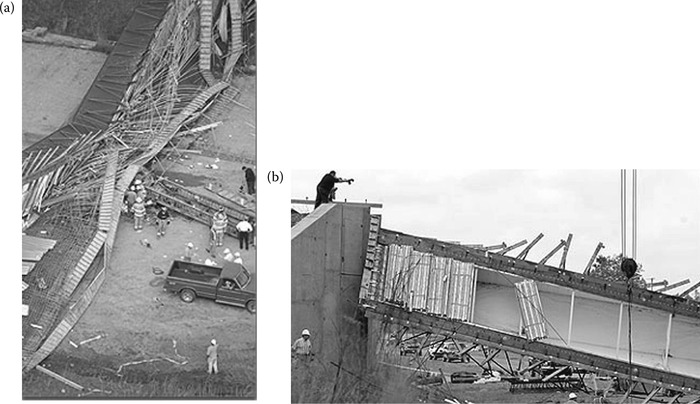 Failure due to concrete details (a) overview of failure site and (b) failed box girder. (Courtesy of New York State Department of Transportation.)