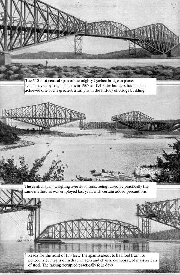 Collapsed Quebec Bridge: sequence of events that led to collapse.