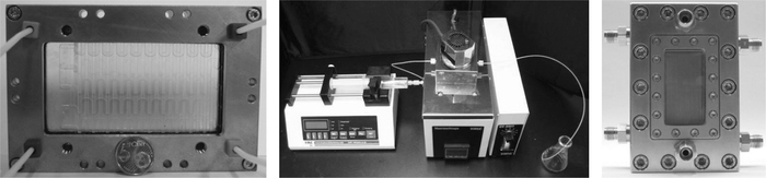 (See color insert.) Dwell device (Microglas), KeyChem-Lumino system (with courtesy of YMC), and falling-film reactor (IMM).