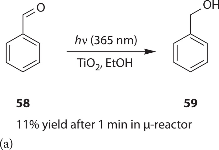 Photocatalytic reduction of (a) benzaldehyde and (b) nitrotoluene.