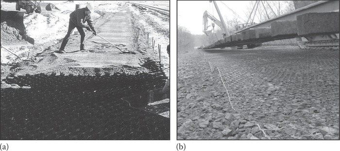 Geoweb and geogrid examples: (a) geoweb and (b) geogrid. (Courtesy of Transportation Technology Center Inc., Pueblo, Colorado.)